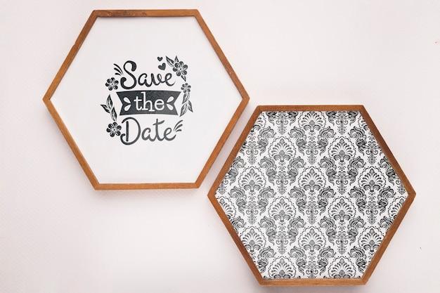 Enregistrez la maquette de date cadres hexagonaux minimalistes