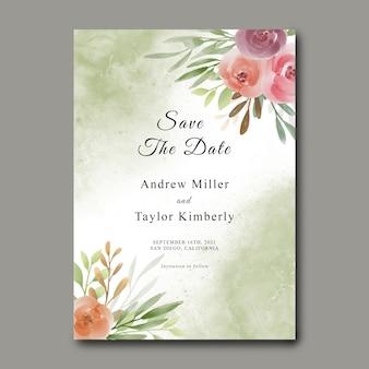 Enregistrez le modèle de date avec bouquet de fleurs aquarelle