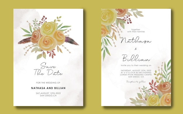 Enregistrez les modèles de cartes de date et les invitations de mariage avec des cadres de fleurs aquarelle