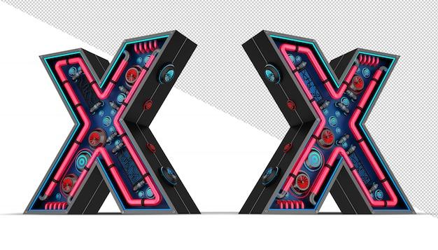 Enseigne au néon en forme de lettre x