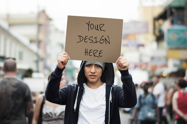 Enseigne de protestation en papier