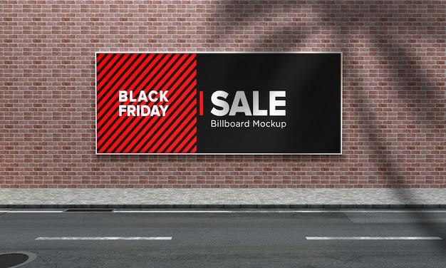 Enseigne sur wall street sign maquette avec bannière de vente vendredi noir