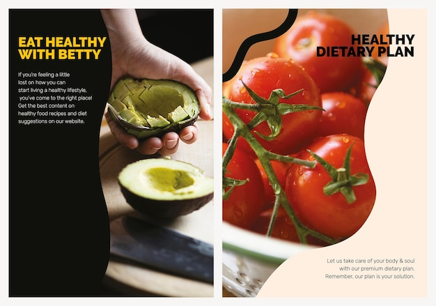 Ensemble d'affiches alimentaires de marketing de style de vie de modèle végétalien sain psd