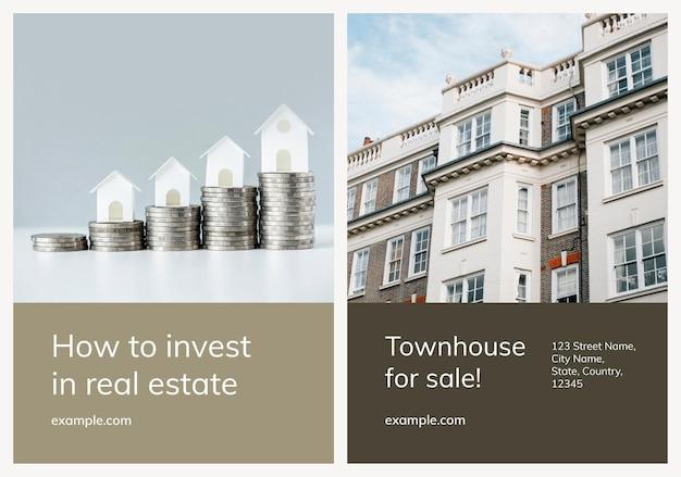 Ensemble d'affiches commerciales psd de modèle de publicité immobilière