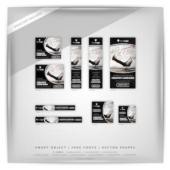 Ensemble de bannières google pour la campagne de marketing en noir et blanc