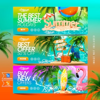 Ensemble de bannières modèle vente d'été nouvelles offres