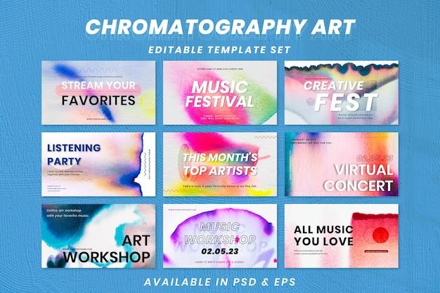 Ensemble de bannières publicitaires d'événement psd de modèle de musique colorée de chromatographie