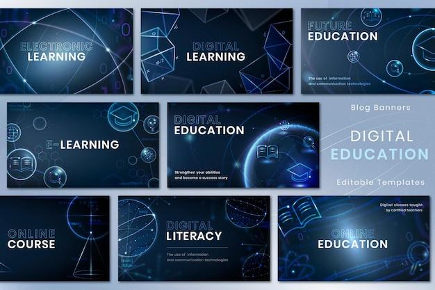 Ensemble de bannières publicitaires psd de modèle de technologie d'éducation futuriste