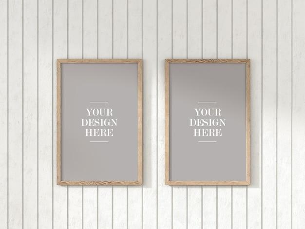 Ensemble de cadre rustique en deux pièces maquette sur mur en bois blanc