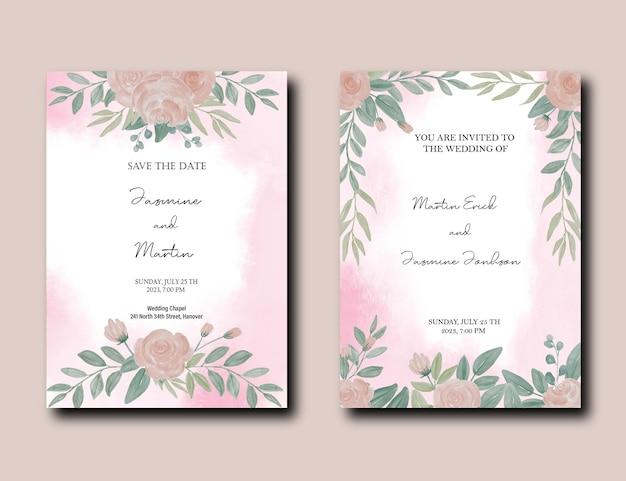 Ensemble de carte d'invitation de mariage avec paquet de fleurs et de feuilles de pivoine