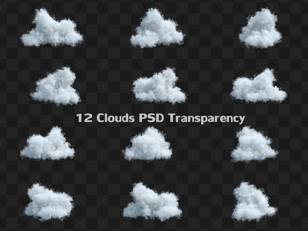 Ensemble de collection de nuage cumulus moelleux blanc isolé