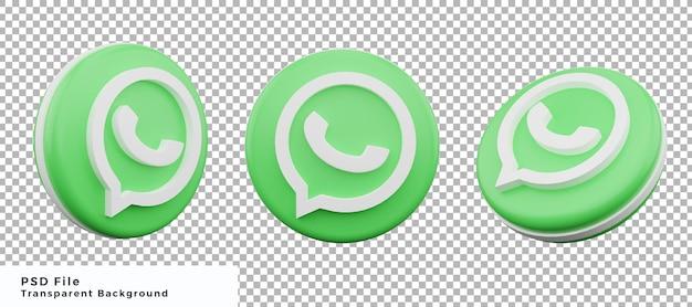 Ensemble de conception d'éléments d'icône de logo whatsapp 3d avec divers angles de haute qualité