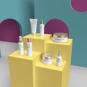Ensemble cosmétique en or haute définition avec maquette réaliste de couleur personnalisée