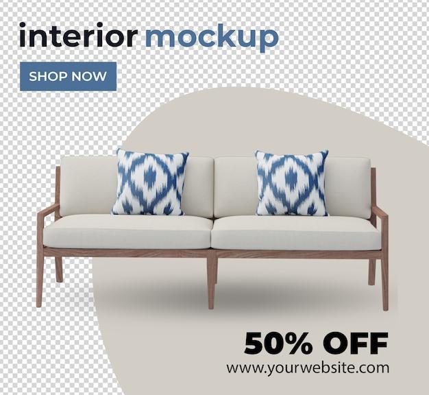 Ensemble de décoration intérieure de canapé-chaise dans une maquette de rendu 3d