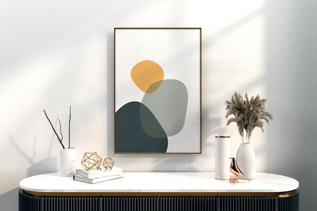 Ensemble de décoration moderne avec maquette de cadres en rendu 3d
