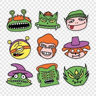 Ensemble de dessins d'illustration vectorielle de bébé de caractères dans le style d'autocollant de dessin animé