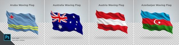 Ensemble de drapeaux d'aruba, australie, autriche, azerbaïdjan drapeau sur transparent