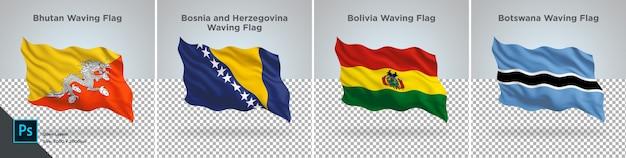 Ensemble de drapeaux du bhoutan, bolivie, bosnie, botswana drapeau sur transparent