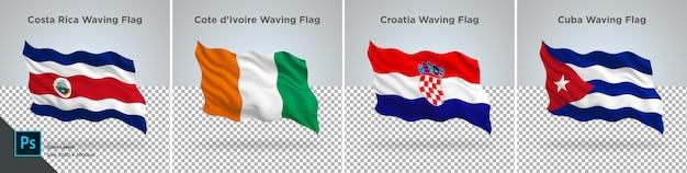 Ensemble de drapeaux du costa rica, côte d'ivoire, croatie, cuba drapeau sur transparent