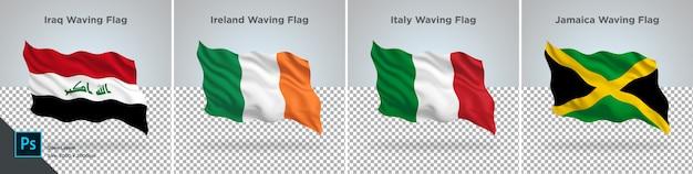 Ensemble de drapeaux d'irak, d'irlande, d'italie et de jamaïque drapeau sur transparent