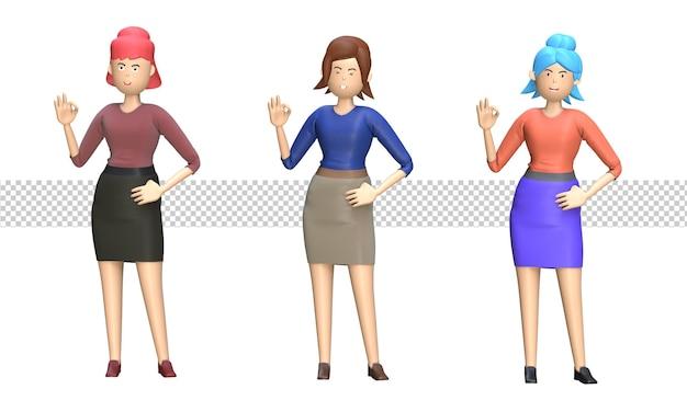 Ensemble de femme d'affaires montrant le geste ok cool pouce levé approbation pose illustration 3d