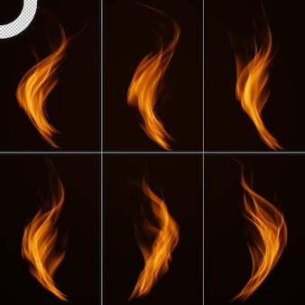 Ensemble de flamme de feu réaliste