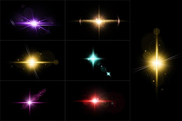 Ensemble de fusées éclairantes colorées. collection de fusées éclairantes réalistes