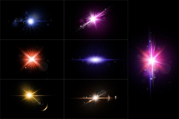Ensemble de fusées éclairantes colorées réalistes