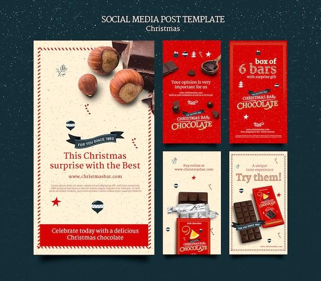 Ensemble d'histoires instagram au chocolat de noël