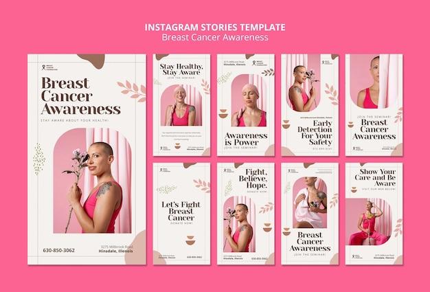 Ensemble d'histoires instagram sur le cancer du sein
