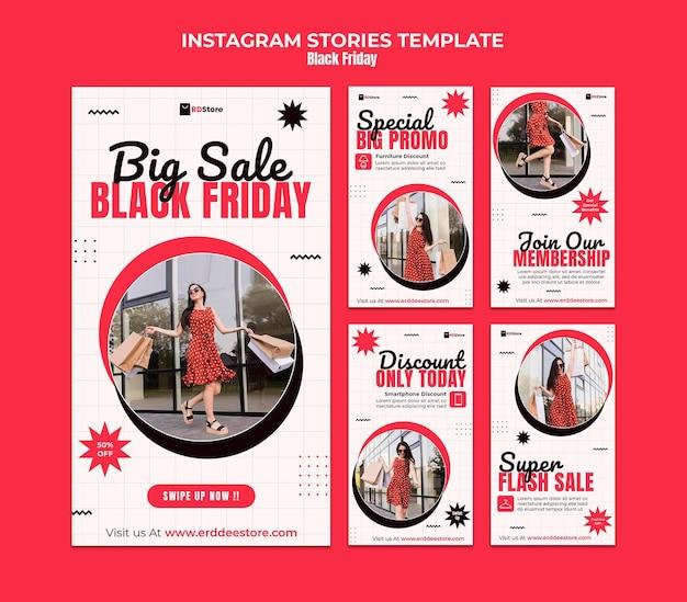 Ensemble d'histoires instagram du vendredi noir
