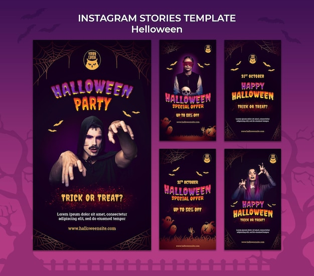 Ensemble d'histoires instagram de fête d'halloween sombre