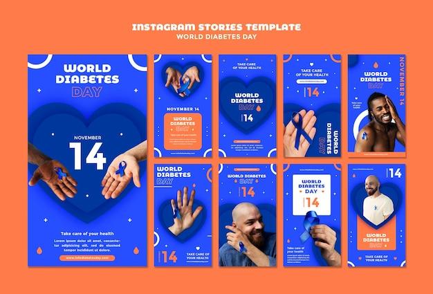 Ensemble d'histoires instagram de la journée mondiale du diabète