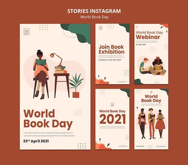 Ensemble d'histoires instagram de la journée mondiale du livre