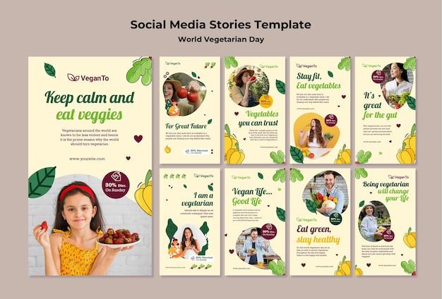Ensemble d'histoires instagram de la journée mondiale des végétariens