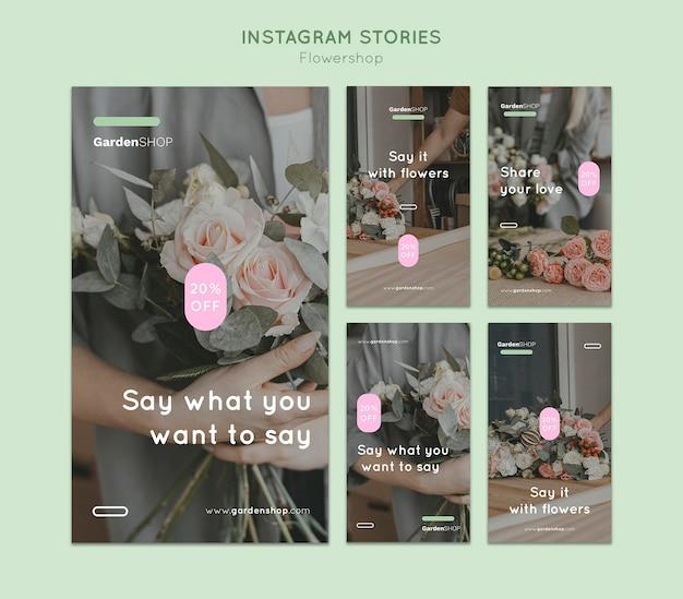 Ensemble d'histoires instagram de magasin de fleurs