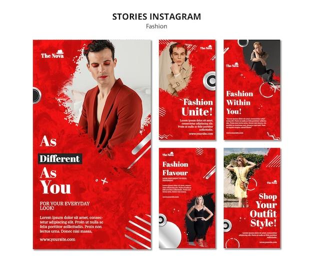 Ensemble d'histoires instagram de mode