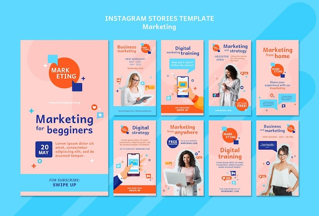 Ensemble d'histoires marketing instagram