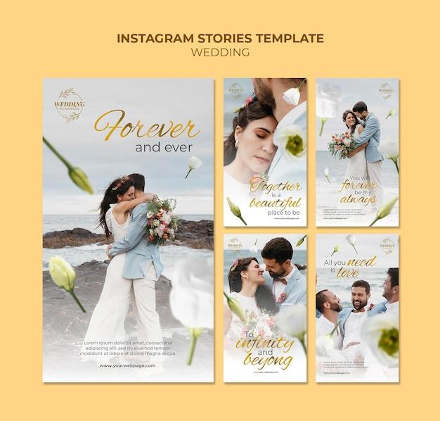 Ensemble d'histoires de médias sociaux de beau mariage