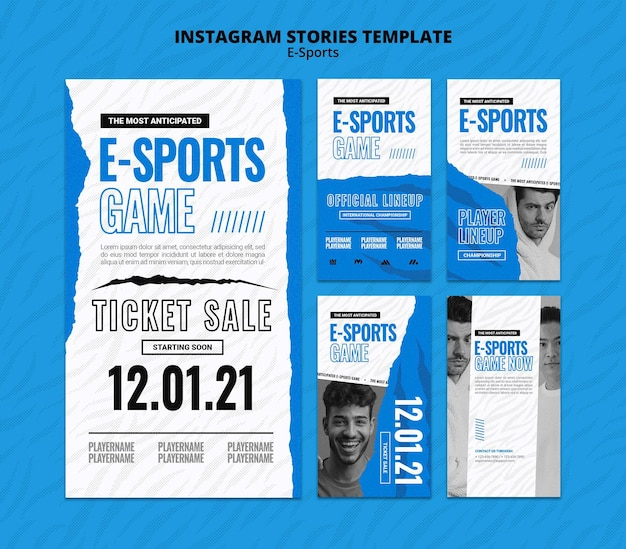 Ensemble d'histoires de médias sociaux e-sports