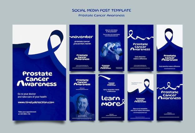 Ensemble d'histoires de médias sociaux de novembre bleu