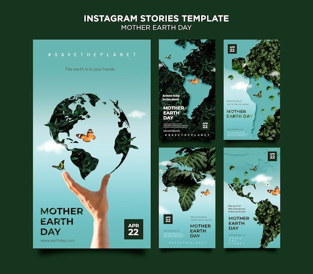 Ensemble d'histoires de médias sociaux pour le jour de la terre mère