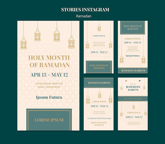 Ensemble d'histoires de médias sociaux ramadan
