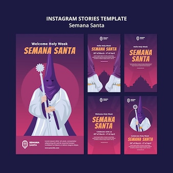 Ensemble d'histoires de médias sociaux semana santa