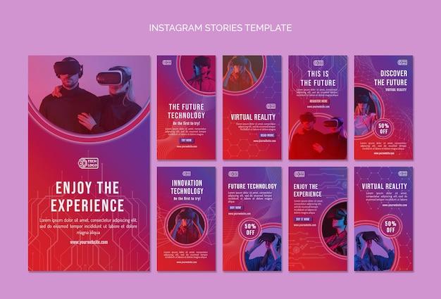 Ensemble d'histoires de médias sociaux de technologie