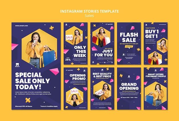 Ensemble d'histoires de médias sociaux de vente