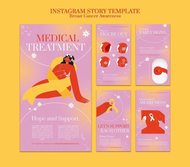 Ensemble d'histoires de sensibilisation au cancer du sein