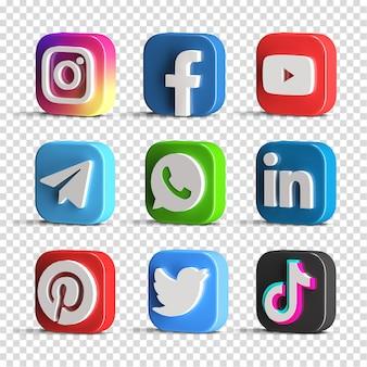 Ensemble d'icônes de logo de médias sociaux brillant populaire collection pack créateur de scène rendu 3d isolé