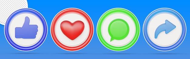 Ensemble d'icônes de notification de médias sociaux 3d