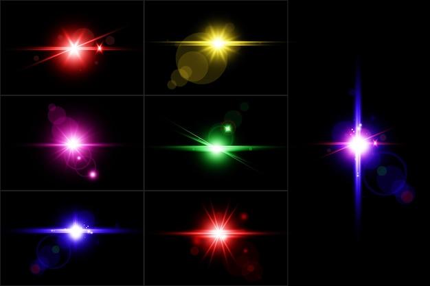 Ensemble de lentilles numériques abstraites flares ensemble de fusées éclairantes